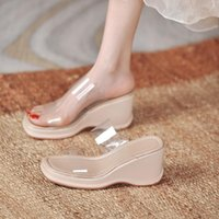 Slippers Double Clear Band Wedges High Heels Women Flip Flops Summer Shoes Woman Pumps Sandalias Transparent Slides Mujer 2021