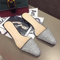 Slippers SUOJIALUN 2021 Spring Summer Women Pointed Toe Mules Shoes Brand Bling Crystal Med Heel Sandal Outdoor Slipper