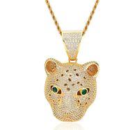 Los colgantes de Hip Hop europeo y americano Micro incrustaciones de zircón leopardo cabeza zodiaco collar brillante brillante