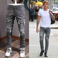 Mann graue jeans gedruckt patchwork applique männer 5 pocket slim fit stretch Denim baumwolle cowboy hosen mann