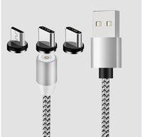 3in1 Cabos de Cabos de Telefone Magnético Carregador 2A Nylon Cabo de Carregamento Rápido Tipo C Micro USB Cabo para Samsung Smartphone