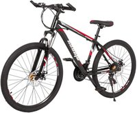 Mountain Bikes 21 Speed Suspension Fork MTB High-Tensile Carbon Steel Frame Mountain Bicycle with Dual Disc Brake Men and Women black