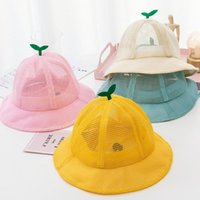 Wide Brim Hats 1PC Summer Baby Hat Cute Little Grass Breathable Mesh Boys Girls Bucket Solid Color Infant Toddler Sun Beach Cap 2021