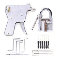 Lock Pick Practice Set Lock Gun Locksmith Tools with Transparent Practice Locks Broken Key Extractor Pick Tool