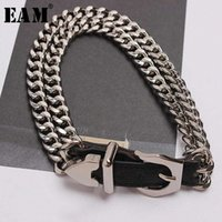 [EAM] 2020 New Spring Summer Pu Leather Chain Split Joint Personality Women Accessories Bracelet Fashion Tide All-match JT750 v4gA#