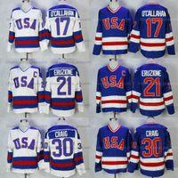 Mike Eruzione # 21 1980 Milagre na equipe de gelo EUA Hóquei Jersey Jim Craig # 30 Jack O'Callahan # 17 Filme Jerseys costurado branco azul qualidade superior