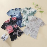 Summer Kids Boys Girls Clothes Tracksuit Sets Tie-Dye Printed Toddler Short Sleeve Tops + Shorts Children Casual Outfits Clothing