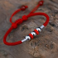 925 Sterling Silver Bead Bracelet & Bangles Lucky Red Rope Thread Charm Bracelets For Women Men Jewelry Girl Gift