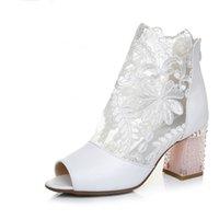 New Fashion Peep Toe Stivali da sposa estivi Sexy da ballo in pizzo bianco Scarpe da sera da sera Tacchi alti da sposa Scarpe eleganti da cerimonia