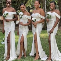 Bridesmaid Dress Ivory Dresses Off The Shoulder Sweep Train Mermaid With Zipper Back Wedding Party