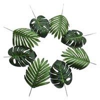 Dekoratif Çiçekler Çelenkler 30 ADET 2 Çeşitler Büyük Yapay Palmiye Yaprakları Faux Tropikal Bitki Monstera Hawaiian Luau Parti Jungle Bea için