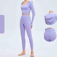 طماق الملابس Yogaworld الفتيات ركض إمرأة اليوغا ارتداء اللياقة الرياضية تشغيل عارضة الخريف مقنعين بأكمام طويلة سترة تسع نقاط السراويل