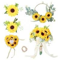 Decorative Flowers & Wreaths Sunflower Wedding Supplies Bridal Artificial Bouquet Ring Pillow Flower Brooch Round Wreath Set 1423