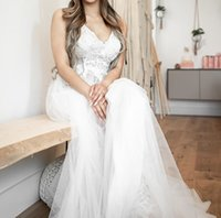 Sexy Spaghetti Straps Backless Wedding Dresses Bridal Gowns Empire High Waist Applliqued Lace Top Tulle A Line vestido de noiva Custom Size