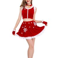 Women's Tracksuits 2021 Christmas Women Costume Suit Cute Bow Choker+Fur Trim Crop Tank Top+Snowflake Skirt+Gloves Set Red Fashion
