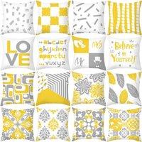 Cushion Decorative Pillow Yellow Grey Geometric Cover Decorative Linen Cushion Home Decor Case Ginkgo Biloba Sham