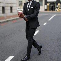 2021 классные черные свадебные смокинги мужские костюмы Slim Fit Piceed Prual Prom Bestman Groomsmen Blazer ужин Party Business дизайн двух частей (куртка + брюки)