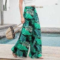 2018 Mujeres de verano casual retro impreso bohemio pantalones de pierna ancha de cintura alta piernas anchas pantalones faldas trapeando pantalones de vacaciones playa v191022