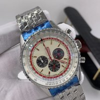 46MM White Dial Quartz Chronograph Breit and Ling Mens Watches Luminous Red Hands Wristwatches With Slide Rule Markings Around The Outer Rim