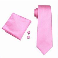 Schneller Versand Herren Krawatte Set Hochzeit Rosa Hanky Manschettenknöpfe Set Jacquard gewebt Groomsman bestman Silk Krawatte Set N-0401