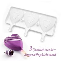 Food Safe Silicone Ice Cream Mold 3 Cell Heart Shape Frozen Juice Popsicle Maker Dessert Molds Tubs Valentine 869 B3