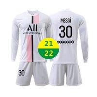 ABD Hızlı 2021 Away Futbol Giyim Messi Formalar Uzun Kollu Spor 2022 Yetişkin Eğitim Eşofman Çocuk Futbol Takımı Setleri Gömlek Üniformaları 21 22 Logo ile # BLK-21A1