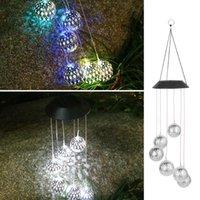 Solar Lamps LED Hanging Spinner Ball Lights For Garden Decor Wind Chime Outdoor Christmas Windbell Light Powered