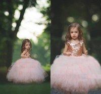 Rose Gold Prinzessin Blume Mädchen Kleider Tutu Backless Tüll 2021 Kleinkind kleine Mädchen Pageant Kommunion Kleid Kinder Formale