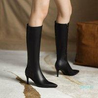 부츠 aliona shoo 겨울 PU 가죽 여성 신발 높은 굽 중반 송아지 긴 따뜻한 눈 레이디 패션 45