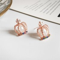 Fashion Enamel Crown Pearl Cross Stud Ear Rings For Women Girl's Gold Hollow Heart Earring Girl Child Creative Colored