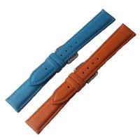 Bandes de montre Bandes de montre Bracelet en cuir Bleu Cowhide 14mm 16mm 18mm Bandes d'authentique pour montres de poignet à quartz Lézard Grain Fashion