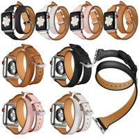Banda de relógio de couro genuíno alça de turismo duplo para a Série 4 3 2 1