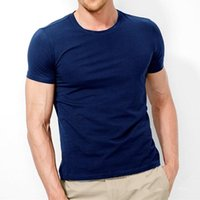 Men's T-Shirts 2021 Brand T Shirt Pure Color Lycra Cotton Short Sleeved T-Shirt Male Round Neck Tops Bottoming