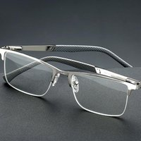Sunglasses Half Rim Business Reading Glasses Men High Quality Anti Blue Light UV Protection Flexible Magnifying Presbyopic Silver