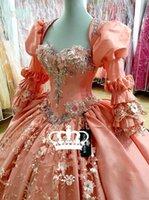 Vintage Pink Quinceanera Dresses with Bolero 3D Floral Applique Vestidos Para XV Años Sweet 16 Prom Gowns robe de soirée