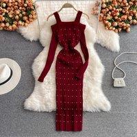 Casual Dresses Vestido De Mujer Autumn Bottom Stretch Polka Dot Knitting Dress Bodycon Sexy Off Shoulder Slash Neck Sling Sweater Wild Retro