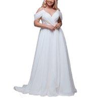 2021 Elegant White Ivory Womens Chiffon Wedding Dress Plus Size Sexy V-Neck Bridal Gowns Off Shoulder Straps Bride A-Line Dresses