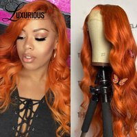 Lace Wigs Orange Ginger Color Body Wave Human Hair Wig Transparent 180%Density Brazilian Remy Glueless For Women Pre Plucked