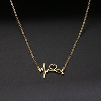 Necklace Stethoscope Heartbeat Gold Women Love Heart Stainless Steel Necklaces & Pendants Medical Nurse Doctor Lover Gifts