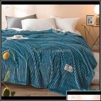 Textiles Home & Gardensuper Soft Blankets Stripe Solid Fleece Blanket Warm Flannel Bedspread Throw On Sofa Bed Er Thickness Bedsheet Yellow