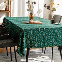 Luxury Foil Printing Bronzing Velvet Table Cloth Soft Rectangular Pink Green Home Gold Line Geometric Table-cloth