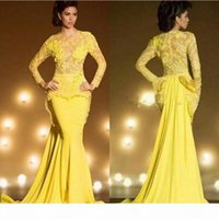 Saudi Arabia Dubai Mermaid Evening Dresses 2019 Sexy Yellow Formal Prom Gowns Kaftan Lace Long Sleeve robe de soiree