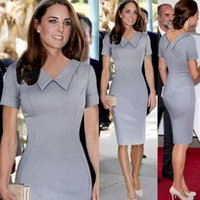 Jenionage Women Middleton Princess Kate 연필 우아한 유명인 피터 팬 칼라 무릎 길이 공식 작업 사무실 복장 Q190511