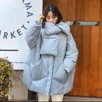 Fitaylor Kış Eşarp Büyük Boy Ceket Kadınlar 90% Beyaz Ördek Aşağı Ceket Yuvarlak Boyun Gevşek Kalın Parkas Kadın Sıcak Kar Dış Giyim