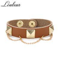 Charm Bracelets Louleur Gothic Punk Metal Cone Stud Spikes Rivet Leather Wristband Cool Men Women Gold Chain Bracelet