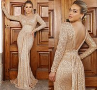 Champagne Gold Prom Dresses Glitter Sequined 2021 Arabic Jewel Neck Long Sleeves Evening Gowns Pleats Sexy Backless Mermaid Formal Women Party Wear AL8984