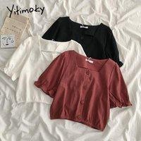 Yitimoky женщин блузки квадратный воротник слоеного рукава рубашка корейская мода одежда 2021 летняя девушка белая черная твердая повседневная одежда женская