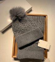 Kadınlar Kış Pom Pom Beanie Şapka ve Eşarp Seti Unisex Kayak Şapkalar Atkılar Gri Setleri