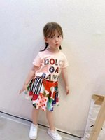 Luxury Kids summer sets children letter printef T-shirt+flowers skirts 2pcs girls designer outfits A6827