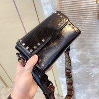فالنتينو الأعلى الجلود رسول حقيبة يد سيدة برشام crossbody المصممين محفظة قماش الكتف حزام محفظة مع مربع 20 سنتيمتر